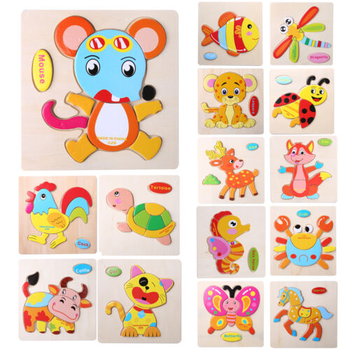 1pc Wooden Blocks Animals Children Educational Toy Puzzle Jigsaw Baby Design New