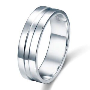 High-Polished-Plain-Men-039-s-Solid-Sterling-925-Silver-Wedding-Band-Ring