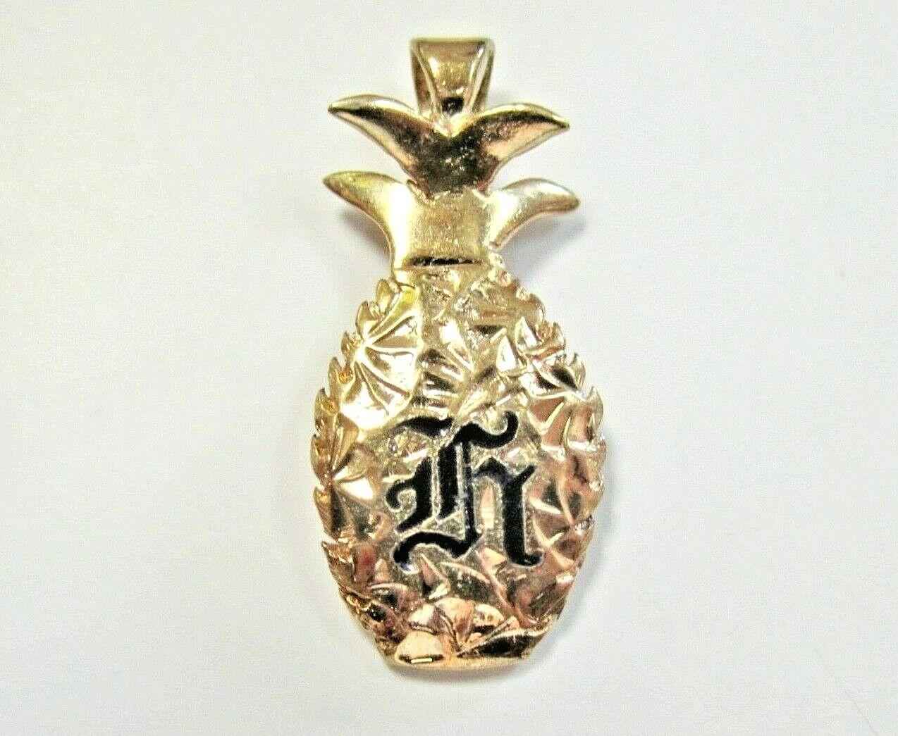 L@@K Beautiful Unique Solid 14K Yellow gold Pineapple Pendant Letter Initial K