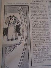"""PATRON ORIGINAL POUR LA POUPEE BLEUETTE """" TABLIER A BAVETTE  MAI   1913"""