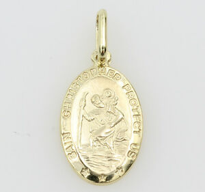14K-Solid-Real-Yellow-Gold-Small-Oval-Religious-Saint-Christopher-Medal-Pendant