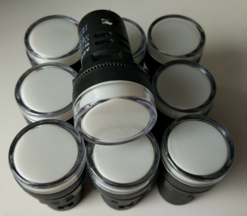 10pcs 220 AC 22mm White LED Power Indicator Signal Light AD16-22D//S