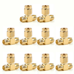 10Pc-Adapter-RP-SMA-Jack-Male-To-2-RP-SMA-Plug-Female-T-RF-Connector-Triple