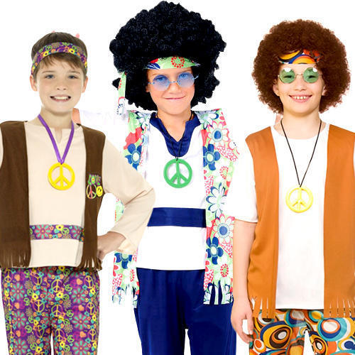 Hippy Boys Fancy Dress 60s 70s Peace Groovy Hippie Childrens Kids Costume Outfit