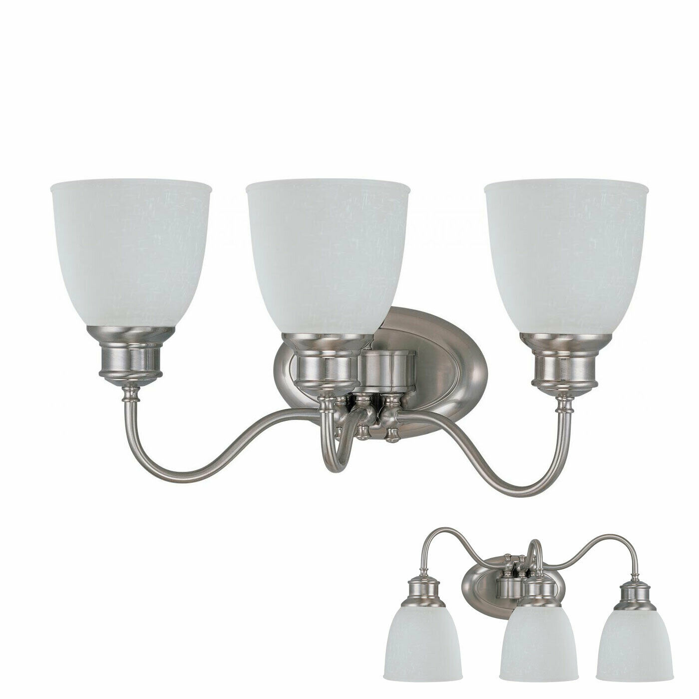 Portfolio 3 Bulb Chrome Vanity Light Wall Fixture With Frosted Glass Shades For Sale Online Ebay
