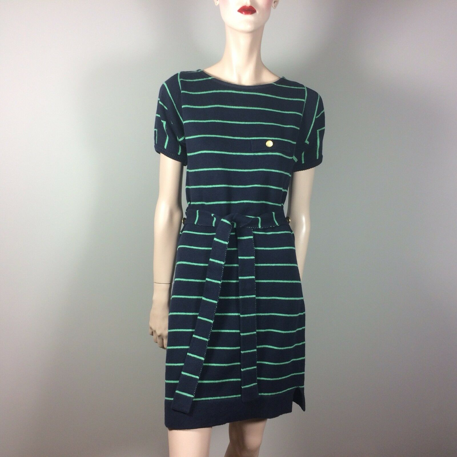 SEE BY CHLOÈ Damen Strick Kleid M 38 Blau Grün Gestreift Casual Chic Boho Style