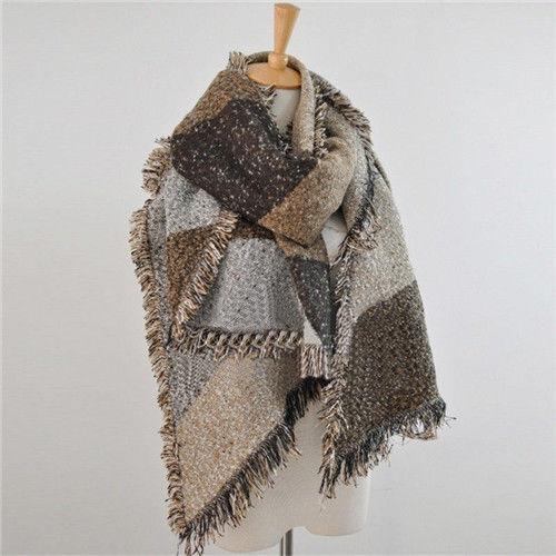 824f949a167c Large Cape Style Scarf Scarves Thick Tartan Wrap Stole Wool Pashmina Shawl  UK   eBay
