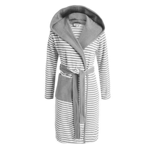ESPRIT Bademantel Striped grey Kapuze Morgenmantel Streifen Sauna Frottee grau