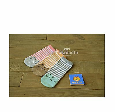 Cute Cats Kitten Cartoon Stripes Lines Patterned Korean Ankle Socks 2503361552