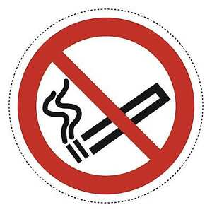 Pack of 5 No Smoking Self Adhesive Stickers from Label heaven - 100mm (10 cm)
