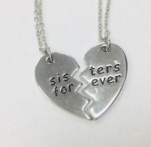 minorista online 67ff7 3c17d Detalles de Hermanas Siempre 2X Collar Mizpah Colgantes Separado Charm  Corazón 14.99 Regalo
