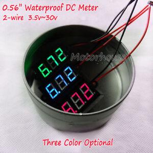 Car Motorcycle Waterproof LED Digital Panel Display Voltmeter Voltage Volt Meter Gauge DC 12V-24V ROSEBEAR LED Digital Voltmeter