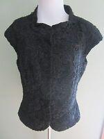 Carmen Marc Valvo Black Beaded Embroidered Lace Top Jacket Vest Size 8