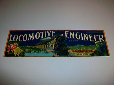 Vintage Unused LOCOMOTIVE ENGINEER BRAND Fruit Crate Label Thomas Mouradick