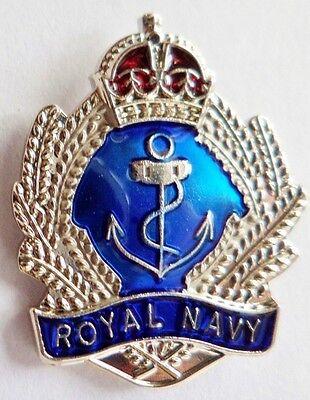 NEW ROYAL NAVY LAPEL BADGE THE NAVY NO1 Enamel,crown and anchor