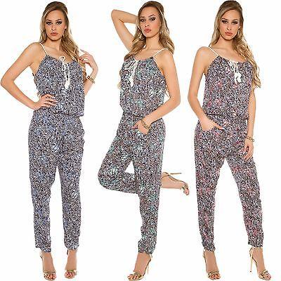 Damen Träger Overall Jumpsuit Playsuit Blumen Print Hosenkleid Hose S 34 36 neu