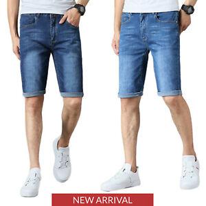 Para Hombre Chicos Pantalones De Mezclilla Stretch Slim Fit Pantalones Jeans Media De Verano Luz Azul Oscuro Ebay