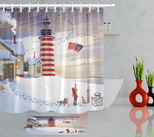 Image Is Loading Winter Snow Farmhouse Candy Cane Lighthouse Shower Curtain