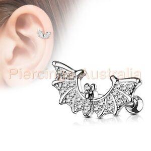 41b58ef02cda6 Details about CZ Bat Cartilage Tragus Ear Ring Bar Piercing Stud Barbell  Body Jewellery