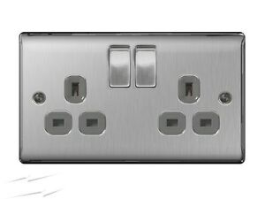 5-x-BG-Electrical-NBS22G-Stainless-Steel-Double-Plug-Socket-2-Gang-Brushed-Steel