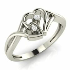 Demira Jewels Double Heart Promise Silver Diamond Ring