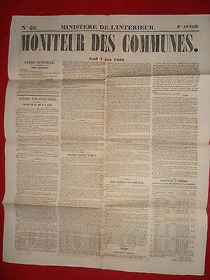 Analytisch Journal Le Moniteur Des Communes Ministere De L'interieur N°23 - 7 Juin 1860