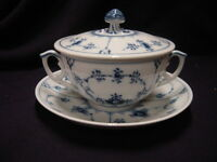 Royal Copenhagen Blue Fluted Plain Covered Cream/Soup Bowl(s) and its Saucer(s)