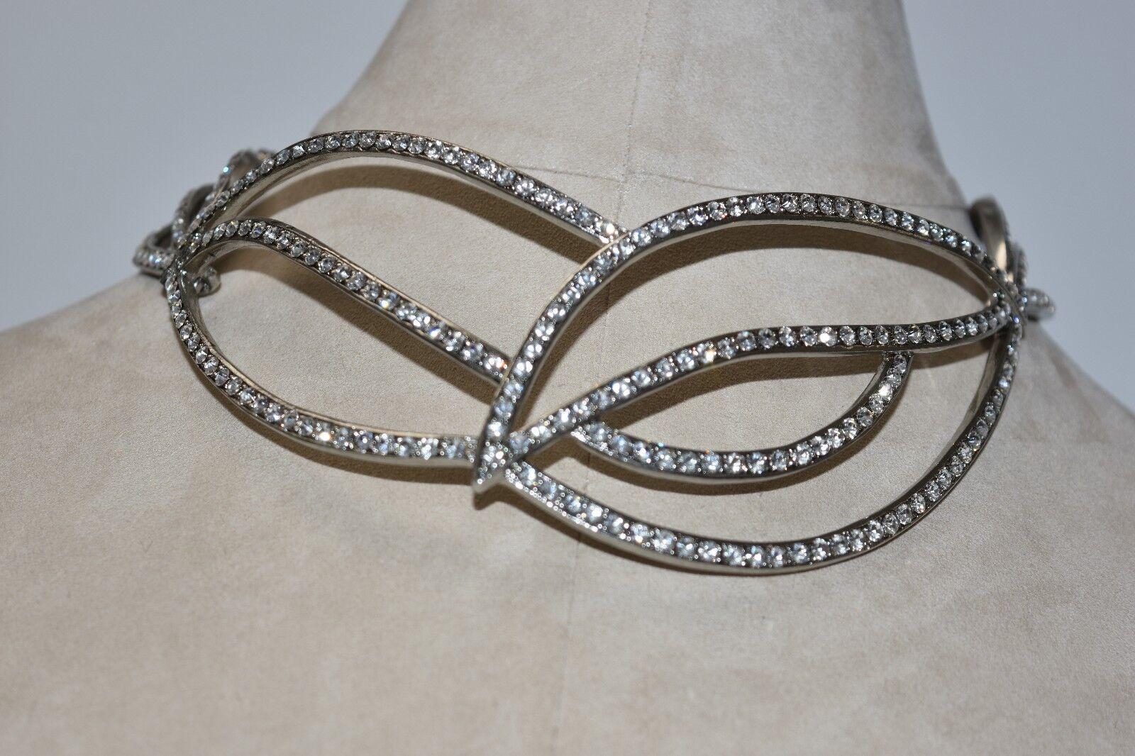 Nuova Oscar De la Renta argentoo Collana Grande Collare Collare Collare Gioielli Cristalli abe865
