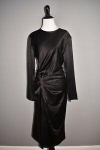 HELMUT-LANG-NEW-645-Ruched-Crinkle-Satin-Midi-Dress-in-Black-Size-6