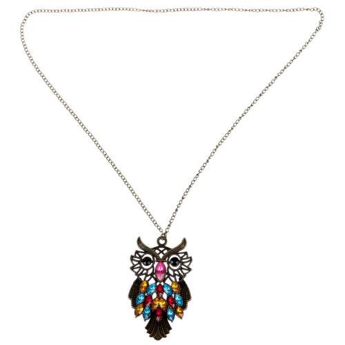 Lange Halskette mit bunte Kristall Eule Anhaenger Y5F1
