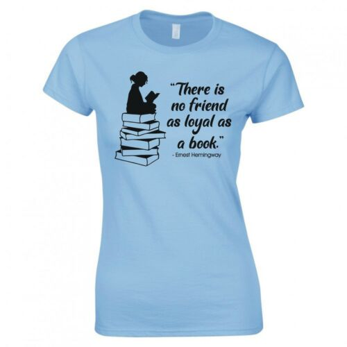 """FUNNY WOMAN /""""THERE IS NO FRIEND AS LOYAL AS A BOOK/"""" SKINNY FIT T-SHIRT"""