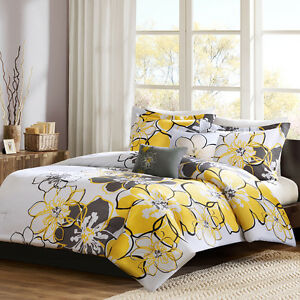 beautiful chic girls flower yellow grey black white comforter set w pillow new ebay. Black Bedroom Furniture Sets. Home Design Ideas