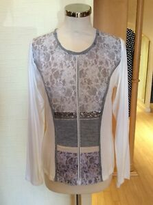 Lace Bnwt Beige £95 £43 White Ivory Now Grey Rrp 12 Size Top Just wIq68fx