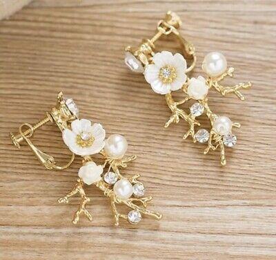 Buono Fiore Damigella D'onore Da Sposa Avorio Oro Stile Vintage Cristallo Orecchino Di Perla Set- Ottima Qualità
