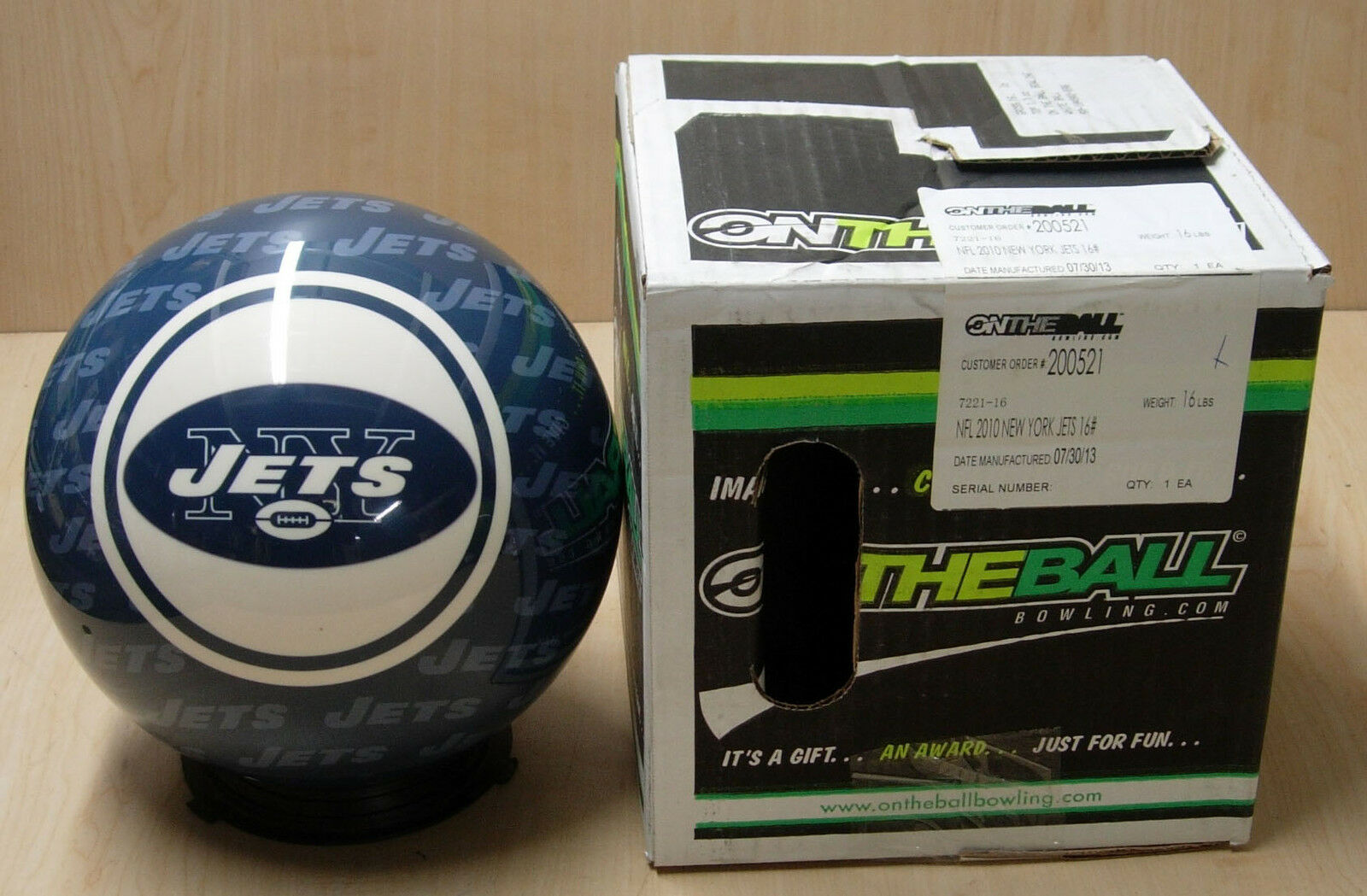 16NIB Bowling Ball OTB Viz-A-Ball RARE Retired 2010 NFL New York JETS