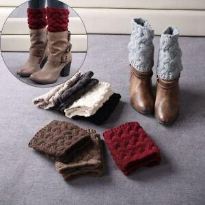Femmes-Crochet-Knit-Hiver-Chaud-Haut-Genou-Jambieres-Leggings-Boot-Chaussettes