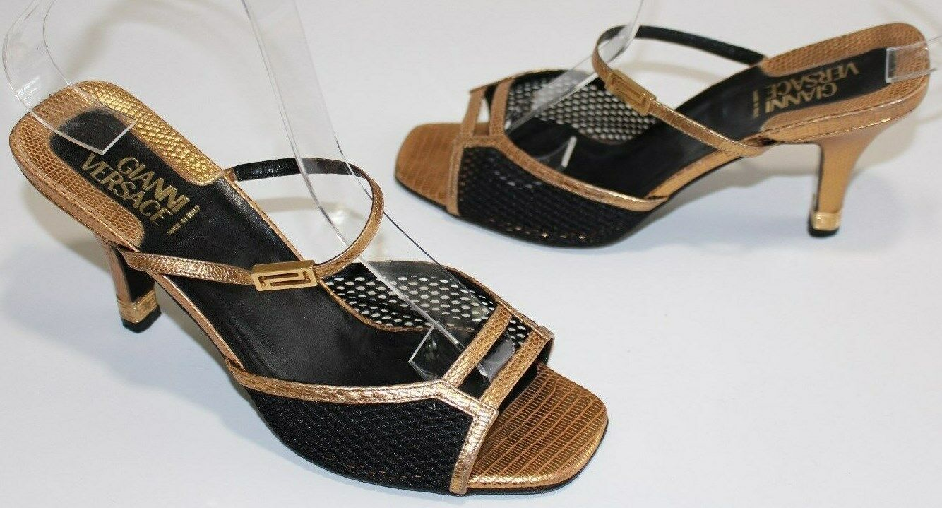 Gianni Versace 5.5 gold Leather Black Mesh Slides Sandal 3  gold Heel OpenToe 36