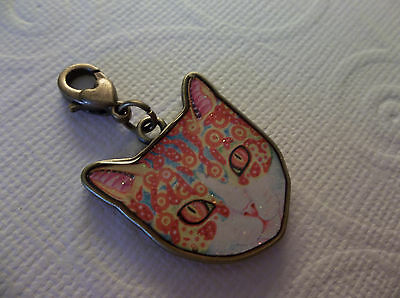 Cat Charm with Heart Embellished with Antiqued BrassLobster Clip 22X27mm - Qty 1