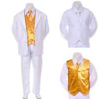 Boy Teen Formal Wedding Party Prom White Suit Tuxedo + Yellow Vest Tie 8-14