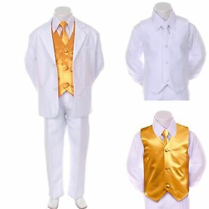 New Boy Teen Formal Wedding Party Prom White Suit Tuxedo + Yellow Vest Tie 16-20