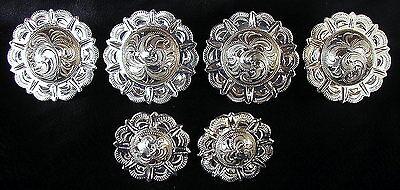 "Saddle Set  >> 4 - 1 1/2"" & 2 - 1"" Hand Engraved Silver Pico Conchos"
