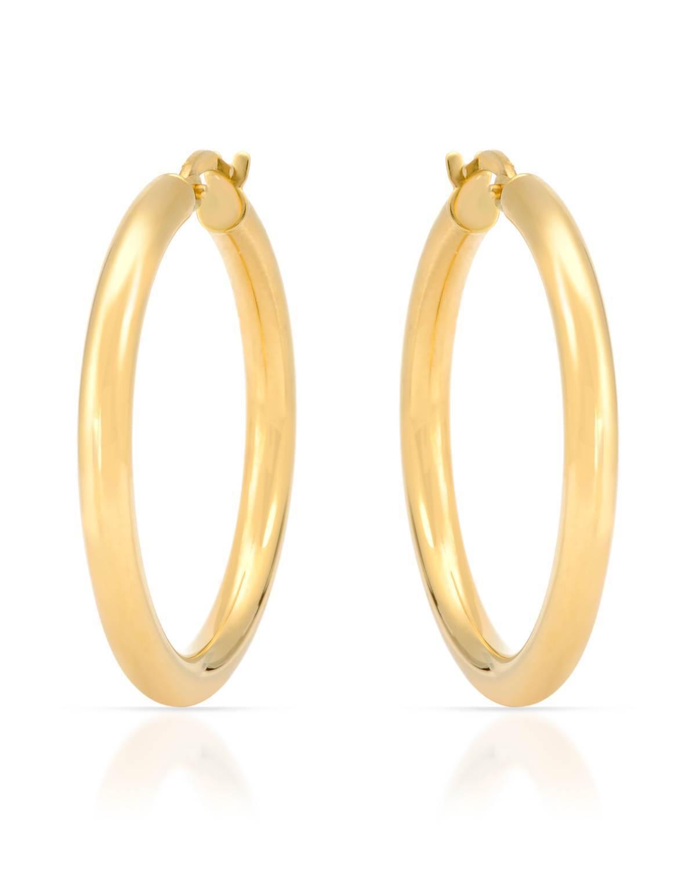 MCS Jewelry 14 Karat Yellow gold Classic Hoop Earrings Diameter  30 mm 2.5 Grams