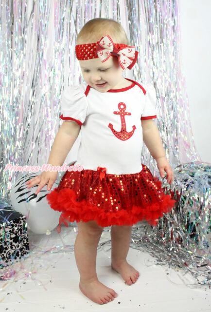 Bling Sailor Anchor White Bodysuit Red Sequins Pettiskirt Girl Baby Dress NB-18M