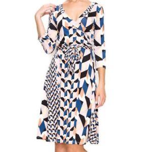 Womens-Janette-Fashion-Faux-Wrap-Knee-Length-3-4-Sleeve-Fit-Flare-Dress-S-M