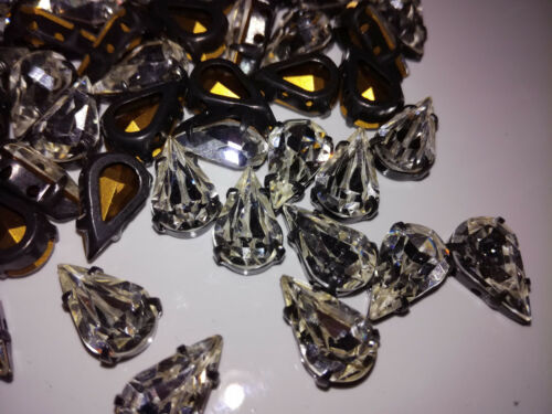 100 x Preciosa MC Pearshape Tropfen Crystal//Black 13x7,8 Glitzersteine 7192-9049