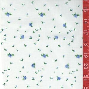 "Vintage BLUE tiny FLORAL on white cotton FABRIC 44""W By 1/2 Yard doll clothes"