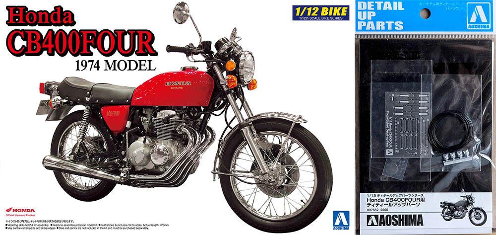 1974 Honda CB400 Cuatro Bicicleta + Detalle Up Partes 1 12 Modelo Kit Aoshima
