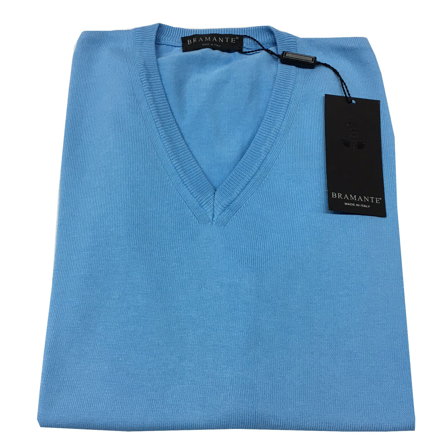 BRAMANTE vest man closed bluee 100% cotton MADE IN ITALY 46