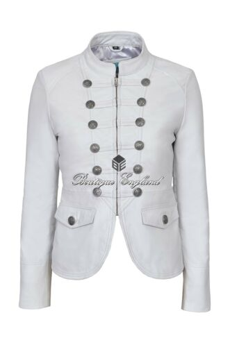 Lamb Jacket 8976 White Soft Ladies Leather Victory Military Style Real Studded qOwz7t1xgt