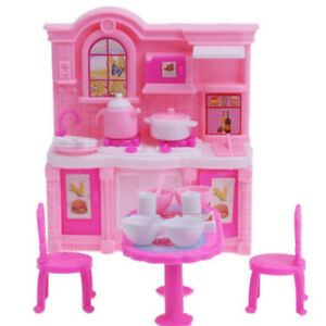 Dolls House Dining Table Chairs Kitchen Cooking Utensils Set For Barbie Doll Ebay